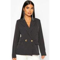 Womens Petite Pinstripe Button Up Blazer - black - 4, Black