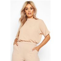 Womens Plus Woven High Neck Short Sleeve Blouse - Beige - 24, Beige