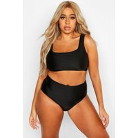 Womens Plus Plain High Waist Bikini - black - 20, Black