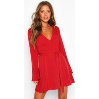 Womens Petite Woven Long Sleeve Belted Wrap Dress - red - 10, Red