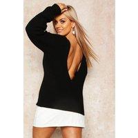 Womens Plus V-back Oversized Jumper - black - 16-18, Black