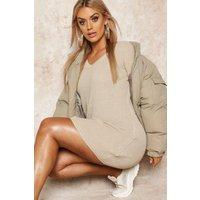 Womens Plus Rib V-Neck Jumper Dress - beige - 22, Beige