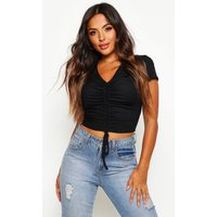 Womens Petite Ribbed Ruched Detail Top - black - 14, Black