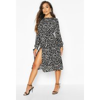 Womens Petite Smudge Spot Print Tie Fit & Flare Midi Dress - black - 14, Black
