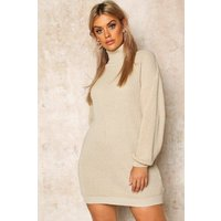 Womens Plus Roll Neck Jumper Dress - beige - 20, Beige