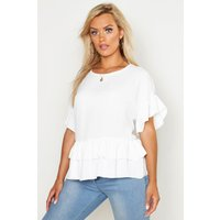 Womens Plus Linen Look Woven Ruffle Tiered Smock Top - white - 20, White