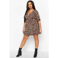 Womens Plus Leopard Ruffle Wrap Dress - brown - 16, Brown