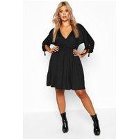 Womens Plus Tie Sleeve Wrap Smock Dress - black - 28, Black