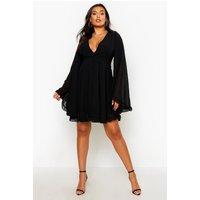 Womens Plus Dobby Chiffon Wide Sleeve Skater Dress - Black - 22, Black