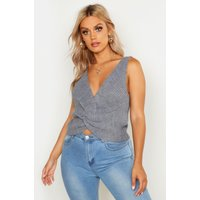 Womens Plus Twist Front Knitted Vest Top - grey - 24, Grey