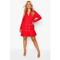 Womens Plus Blazer Frill Hem Dress - Red - 18, Red