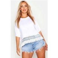 Womens Plus Crochet Tassel Beach T-Shirt - white - 16, White
