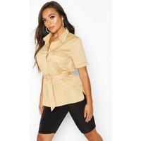 Womens Petite Oversized Belted Shirt - beige - 12, Beige