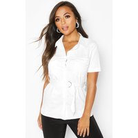 Womens Petite Oversized Belted Shirt - white - 8, White