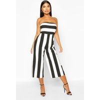 Womens Petite Mono Striped Bandeau Culotte Jumpsuit - black - 4, Black