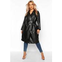 Womens Plus PU Belted Wrap Coat - black - 18, Black