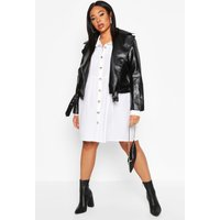 Womens Plus Pu Biker Jacket - black - 16, Black