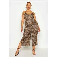 Womens Plus Leopard Print Self Belt Culotte Jumpsuit - Brown - 18, Brown