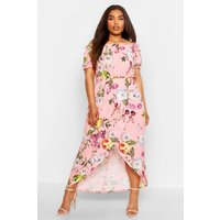 Womens Plus Floral Off Shoulder Maxi Dress - pink - 16, Pink