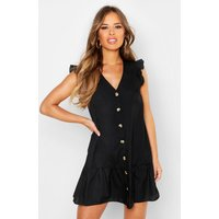 Womens Petite Woven Button Through Frill Smock Dress - black - 4, Black