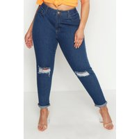 Womens Plus Rip Knee Mom Jeans - grey - 18, Grey