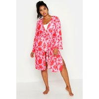 Womens Plus Bright Floral Print Belted Midi Kimono - Pink - 22, Pink