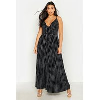 Image of Womens Plus Polka Dot Strappy Knot Front Maxi Dress - black - 16, Black