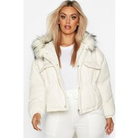 Womens Plus Faux Fur Hooded Pocket Parka Jacket - white -