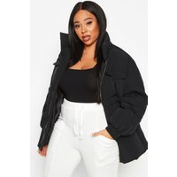 Womens Plus Belted Funnel Neck Utility Puffer Jacket -