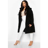 Womens Plus Teddy Faux Fur Belted Mid Length Coat - black - 22, Black