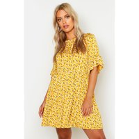 Womens Plus Ditsy Floral Smock Dress - yellow - 22, Yellow