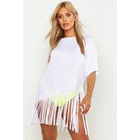 Womens Plus Tassel Beach Dress - White - 20, White