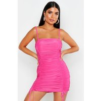 Womens Petite Ruched Tie Detail Cami Dress - Pink - 14, Pink