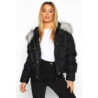 Womens Petite Oversized Cropped Pocket Padded Jacket - black - 4, Black