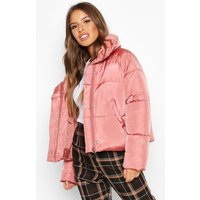 Womens Petite Cropped Front Pocket Padded Jacket - Pink -