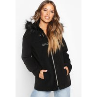 Womens Petite Faux Fur Trim Wool Look Duffle Coat - black - 4, Black
