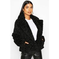 Womens Petite Luxe Faux Fur Short Jacket - black - 10, Black