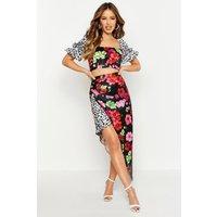 Womens Petite Satin Mixed Floral Midi Skirt - black - 6, Black