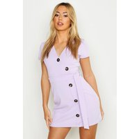 Womens Petite Horn Button Belted Wrap Dress - purple - 4, Purple