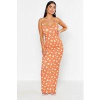 Womens Petite Large Scale Floral Strappy Maxi - Orange - 6, Orange