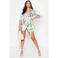 Womens Plus Tropical Print Ruffle Tie Playsuit - white - 16, White