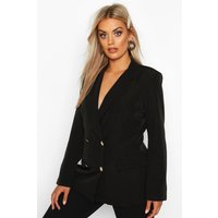 Womens Plus Double Breasted Military Blazer - black - 22, Black