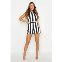 Womens Petite Monochrome Stripe Playsuit - Black - 10, Black