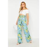 Petite Lemon Print Wide Leg Trouser