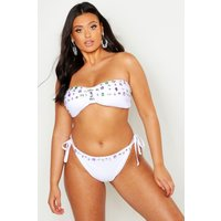 Womens Plus Premium Mix & Match Jewelled Bikini Top - white - 18, White
