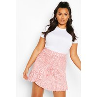 Womens Plus Dalmatian Print Ruffle Skater Skirt - Orange - 28, Orange