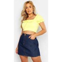 Womens Plus High Rise Fray Hem Denim Skirt - Grey - 20, Grey