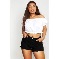 Womens Plus High Rise Fray Hem Denim Shorts - black - 20, Black