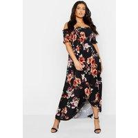 Womens Plus Floral Off Shoulder Maxi Dress - black - 26, Black