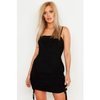 Womens Plus Double Slinky Ruched Front Bodycon Dress - black - 24, Black